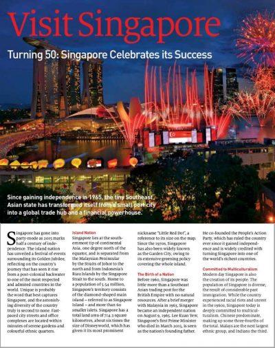 Visit Singapore, lufthansa magazin